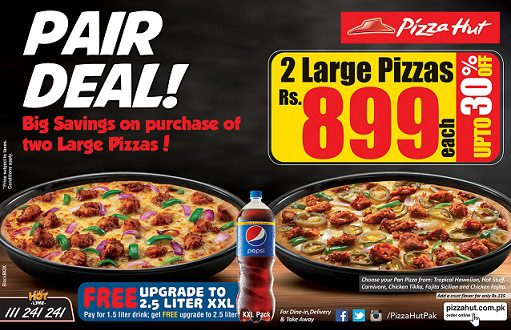 Pizza Hut offers several weekly deals on their homepage. You can also join Hut Rewards to earn points towards free pizza. Does Pizza Hut have free delivery? Pizza Hut does charge a delivery fee depending on your distance from their location. What is on Pizza Hut's menu? Pizza Hut offers several choices and sizes of pizza, chicken wings, pasta.