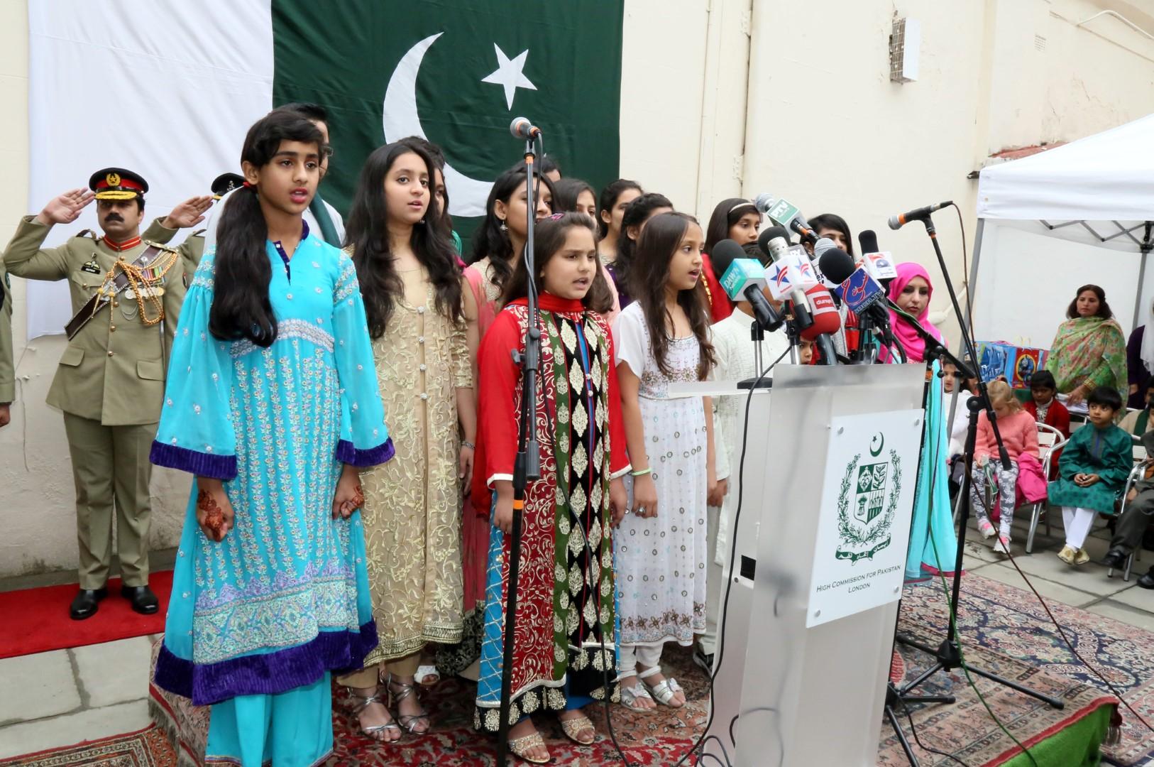 children sing the National Anthem