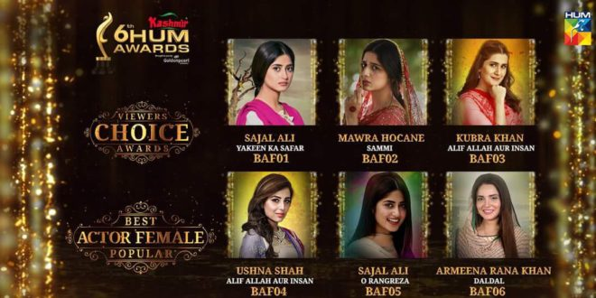 Viewer's choice awards category nominations for 6th Hum